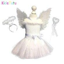 Branco brilho menina pena anjo aniversário tutu vestido crianças natal anjo festa cosplay traje com asas e varinhas de fadas
