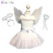 Wit Sparkle Girl Feather Angel Verjaardagsfeestje Tutu Jurk Kinderen Kerst Angel Party Cosplay Kostuum Met Vleugels En Fairy Wands(China)