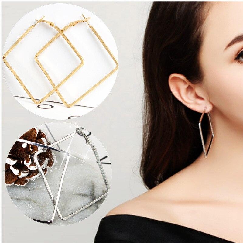 Vintage 2017 Earrings For Women Boucle D'oreille Alloy Gold Silver Square Big Drop Earrings Boucle D'oreille Femme Pendante