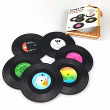 6Pcs Soft Retro Vinyl Drink Coasters Table Cup Mat Home Decor CD Record Coffee Heat resistant Placemat Tableware