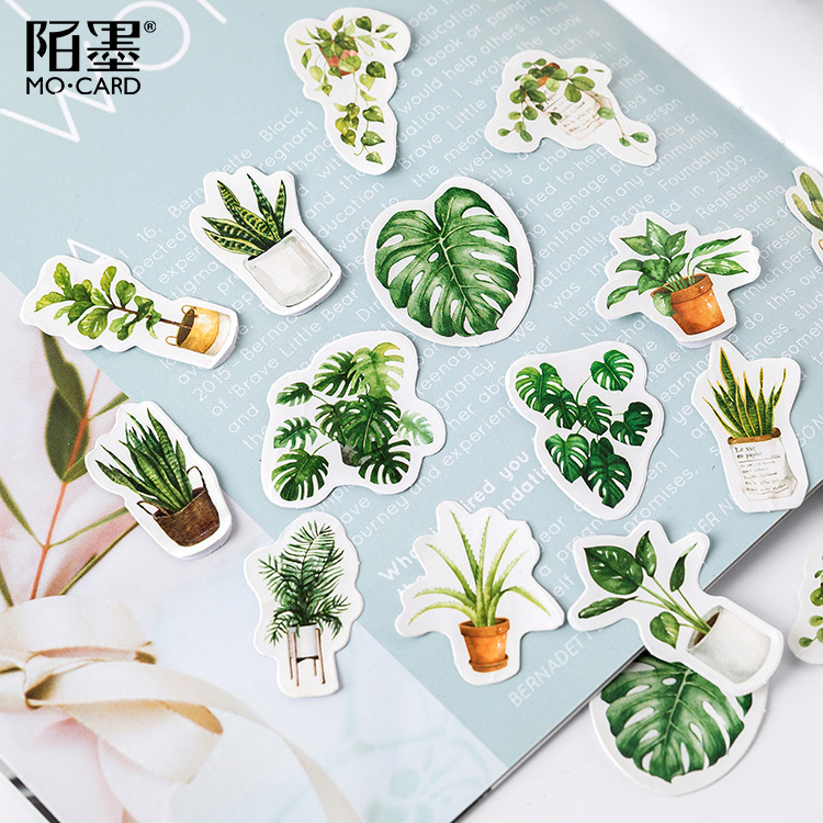 45 Pcs/pack Green Potted Plant Decorative Washi Stickers Scrapbooking Stick Label Diary Stationery Album Stickers 3