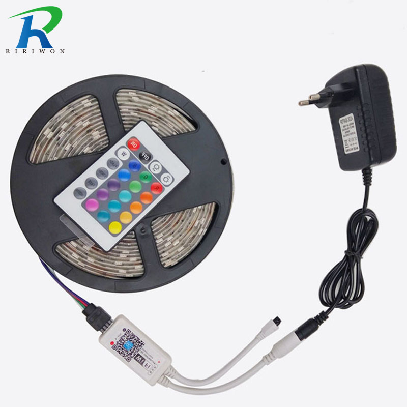 Wifi 5M RGB bandă SMD5050 LED Strip lumină Panglică Lampă de decorare Tape / 24Key IR Remote + Controler WIFi cu adaptor