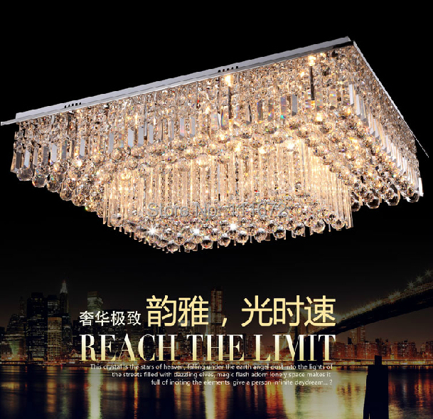 New Luxury 2 Layers Square Crystal Chandelier Ceiling  Living Room Lights