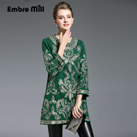 Womens Runway Fashion 2016 Autumn Royal Embroidery Trech Coat Vintage Plus Size O Neck Long Sleeve
