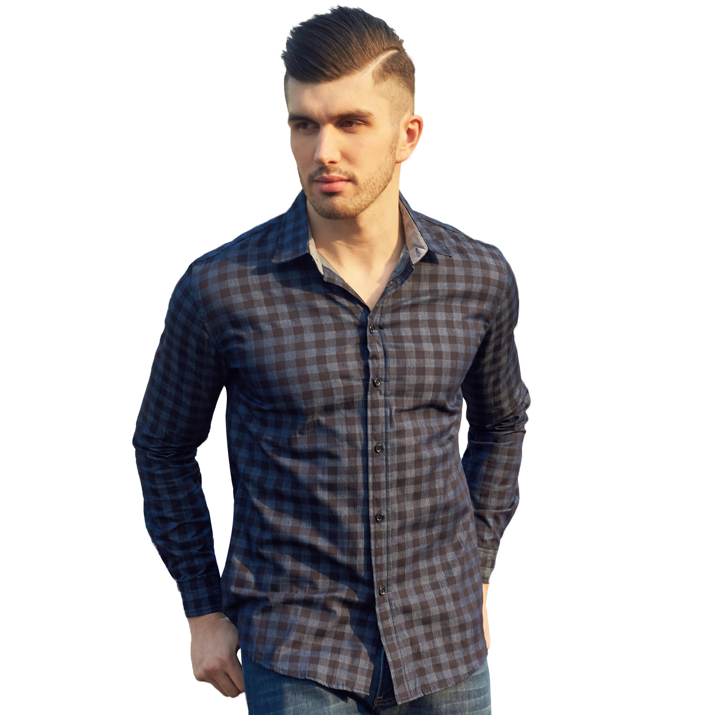 Autumn New Fashion Mens Shirt Long Sleeve Plaid Shirts Mens Dress