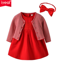 IYEAL New 2019 Spring Fashion Princess Baby Girl Clothes Set Knitted Cardigan Jacket + Dresses Headband Kids Girls Outfits