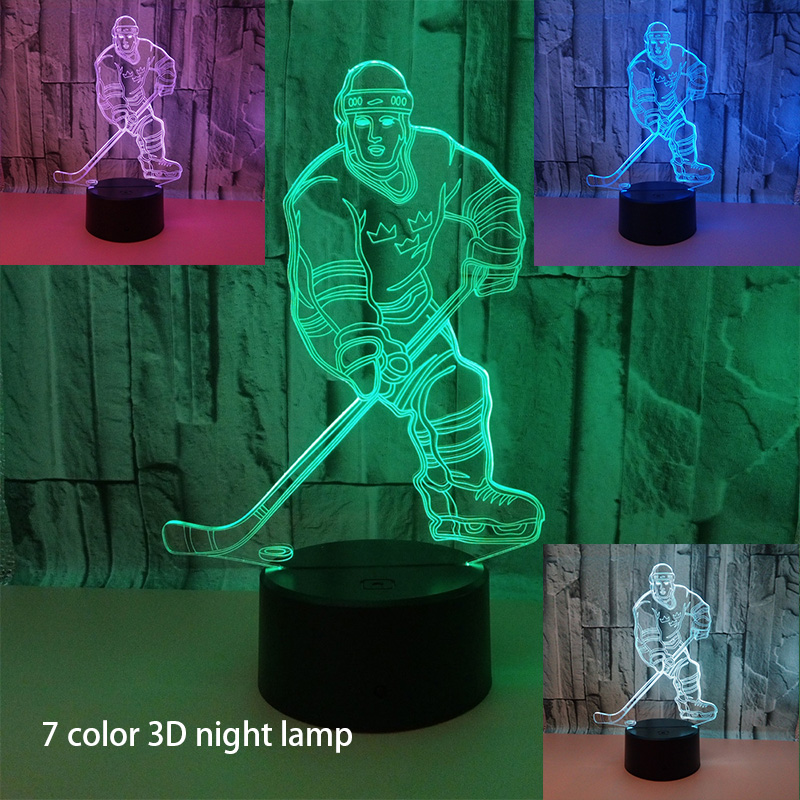 Sports Fans Gifts 3D Ice Hockey Goalie Modelling Table Lamp 7 Color Change LED Night Light USB Hockey Sports Party Decor 3d luminous ice hockey player shape led table lamp 7 colors changing home living room decor light fixture baby sleep night light