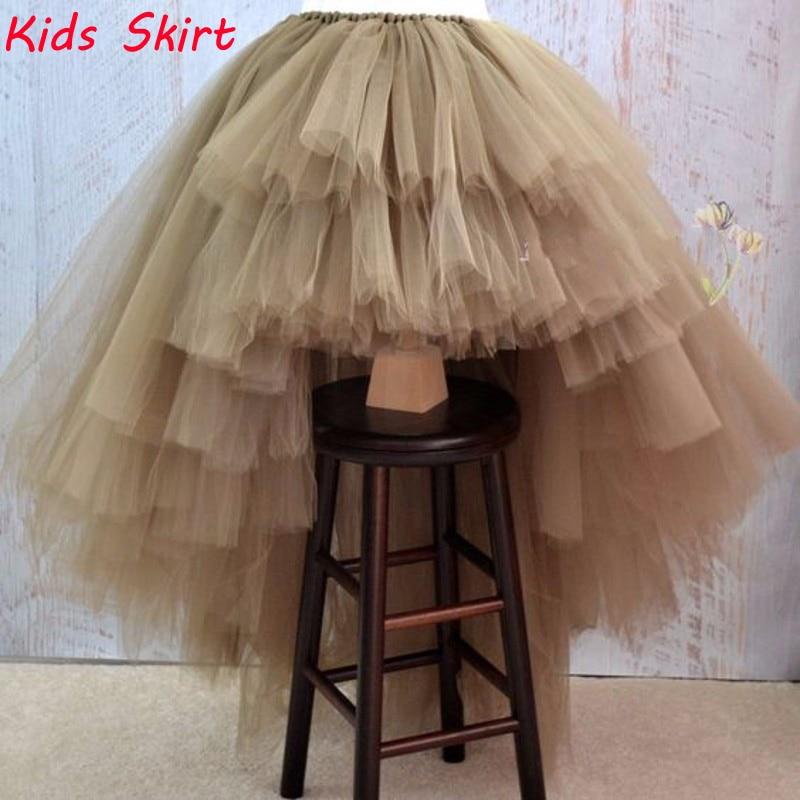 New Arrival Khaki High Low Tulle Kids Skirt Custom Made Hi Lo Asymmetrical Chic Kids Dress Tiered Tulle Tutu