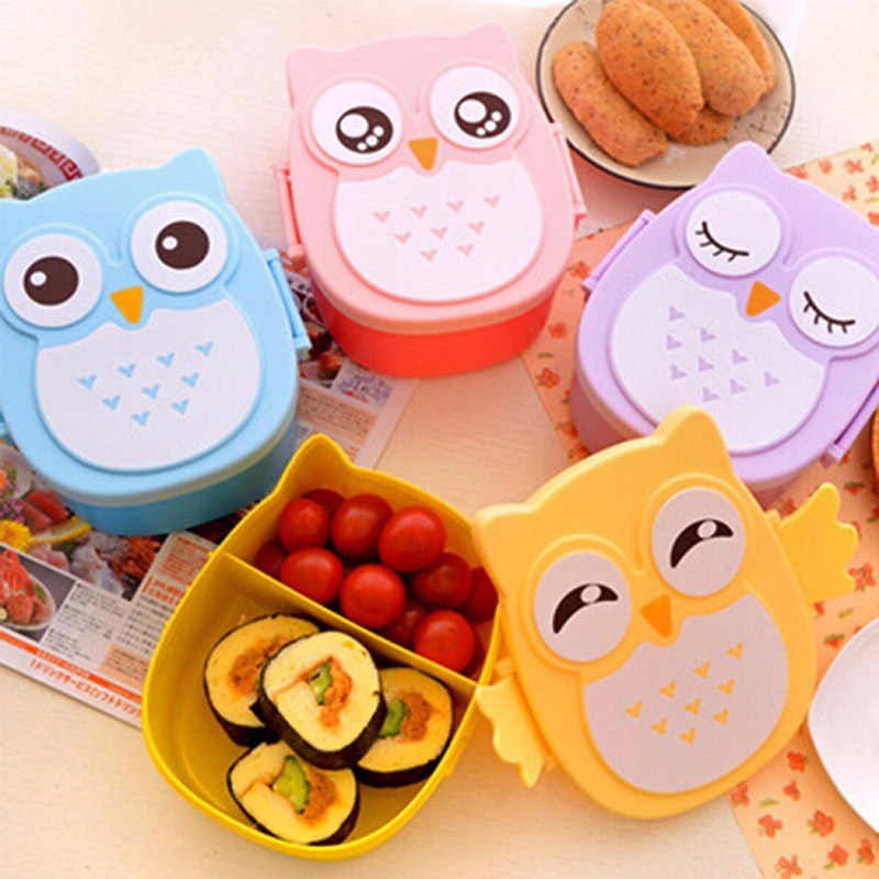 Baby Food Dishes Cartoon Owl Lunch Box Convenient Portable Fruit Storage Bento Children Safe Solid Feeding Boxes NBB0369