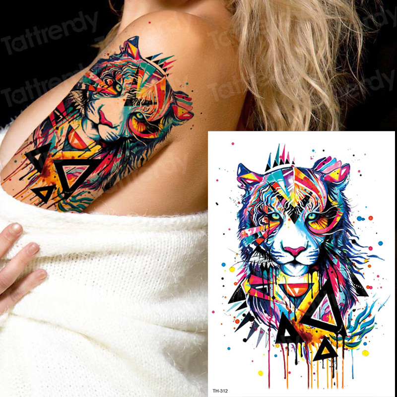 Tattoo Tiger Temporary Watercolor Tattoo Sticker Waterproof Women Fashion Fake Body Art Arm Tattoos Kids Hand Tatoo Water Color