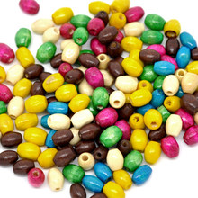 2000Pcs Mixed Wood Spacer Beads Dyed Oval Tube Wooden Charms Jewelry Component 6x4mm