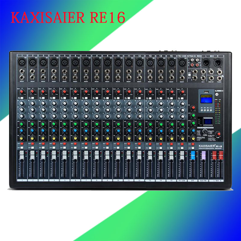 New 16 Channel High-end Mixing Console Studio Audio Mixers Mixer 24-Bit Multi-FX Processor 99 digital reverb network sing MP3 professional 4 channel live mixing studio audio sound console network anchor portable mixing device vocal effect processor