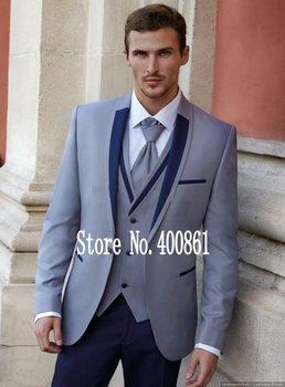 New Arrival One Button Light Grey Groom Tuxedos Shawl Lapel Groomsmen Men Blazers 3 pieces Suits (Jacket+Pants+Vest+Tie) NO:299