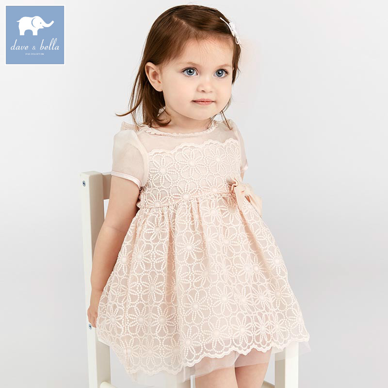 DB7693 dave bella summer baby girl s princess dress children birthday wedding party dress kids infant