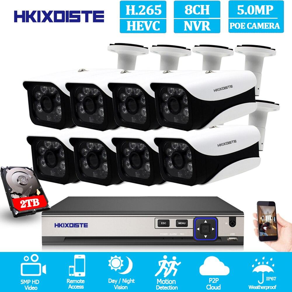 HKIXDISTE HD 8CH 4MP POE Kit de système de caméra de sécurité H.265 POE IP caméra extérieure étanche à la maison cctv vidéo Surveillance ensemble NVR