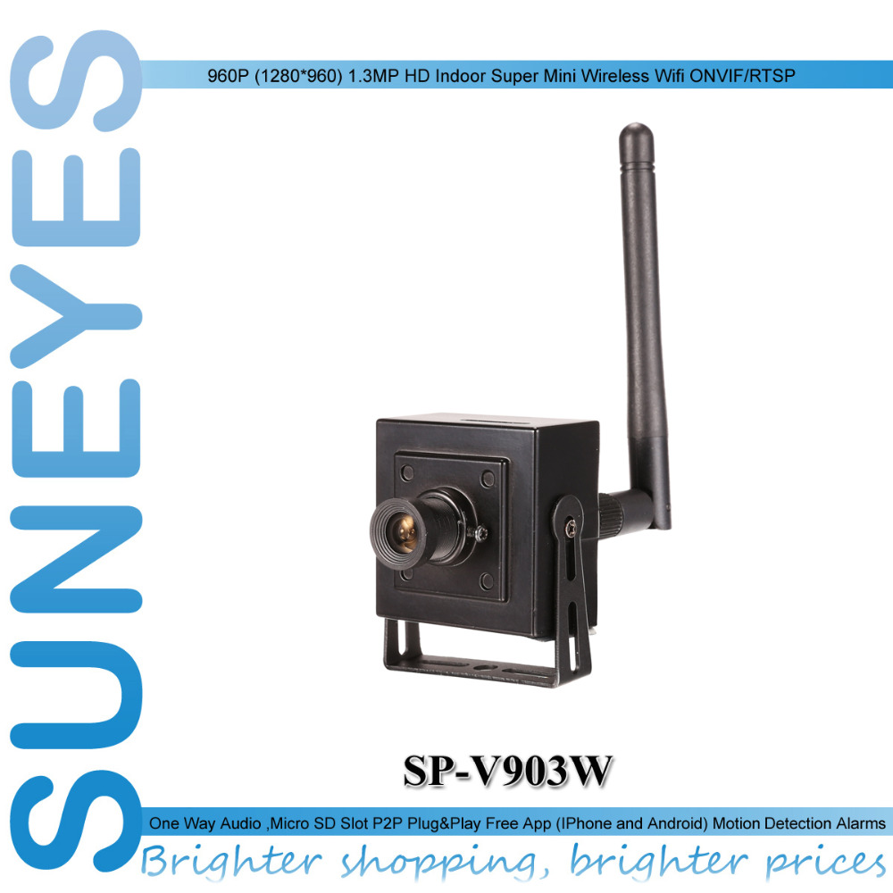 SunEyes SP-V903W 960P 1.3MP HD Wireless Super Mini IP Camera Wifi with Micro SD Slot free P2P Support AP Access Point Mode suneyes sp p906wz 960p 1 3mp hd ptz wireless wifi ip camera dome outdoor 2 8 12mm optical zoom with tf micro sd slot super night