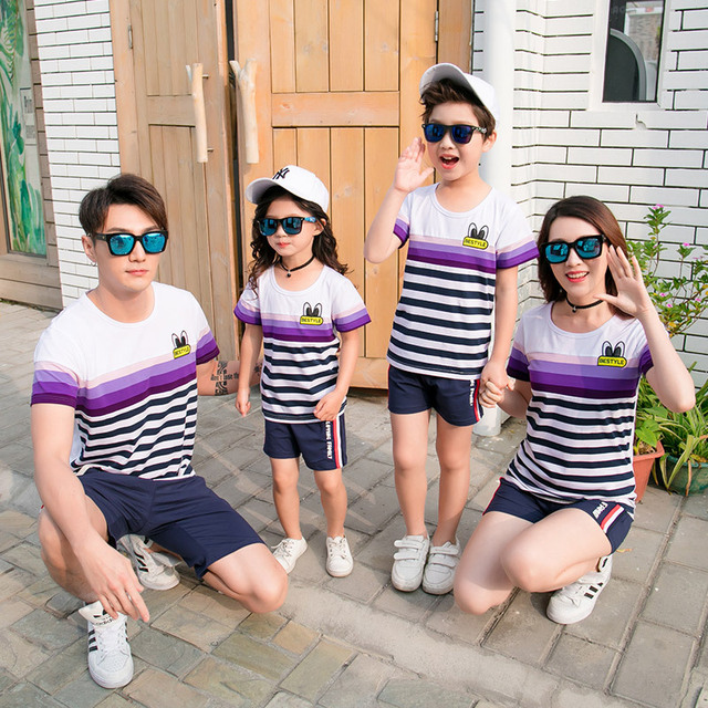 f54b8c8fcee8 Family Matching Clothing Summer 2018 New Korean Short Sleeve Cotton Striped  T - Shirt + Shorts 2 Pcs Family Sports Suit
