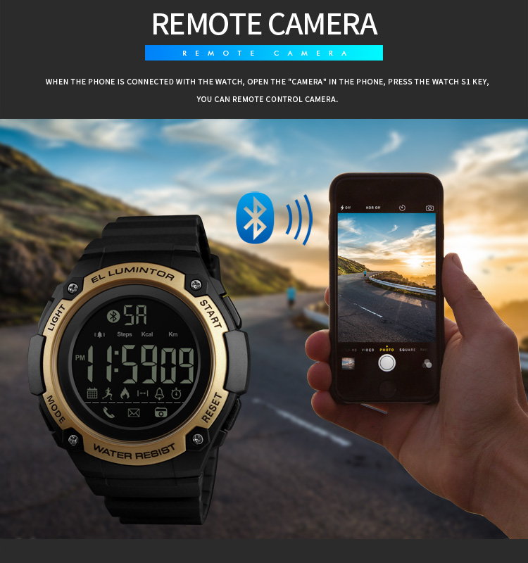 SKMEI 2019 New Bluetooth Sport Smart Watch Men Waterproof Calories Pedometer digital SmartWatch For IOS Android (11)