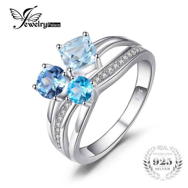 JewelryPalace 1.7ct Genuine Multi London Blue Topaz 3 Stones Ring Genuine 925 St