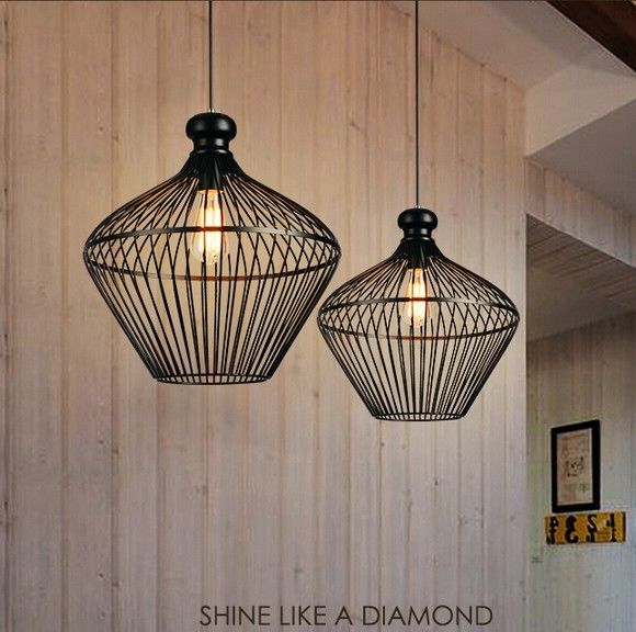 Loft Style Creative Iron Cage Pendant Light Fixtures Vintage Industrial Lighting For Dining Room Edison Hanging Lamp Lamparas loft style creative iron cage pendant light fixtures vintage industrial lighting for dining room edison hanging lamp lamparas