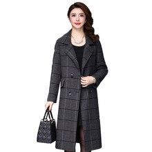 все цены на 2019 New Cashmere Coat Autumn Winter Women Fashion Wool Jacket Medium Long Loose Woolen Outerwear Large Size Ladies Jacket FC56 онлайн