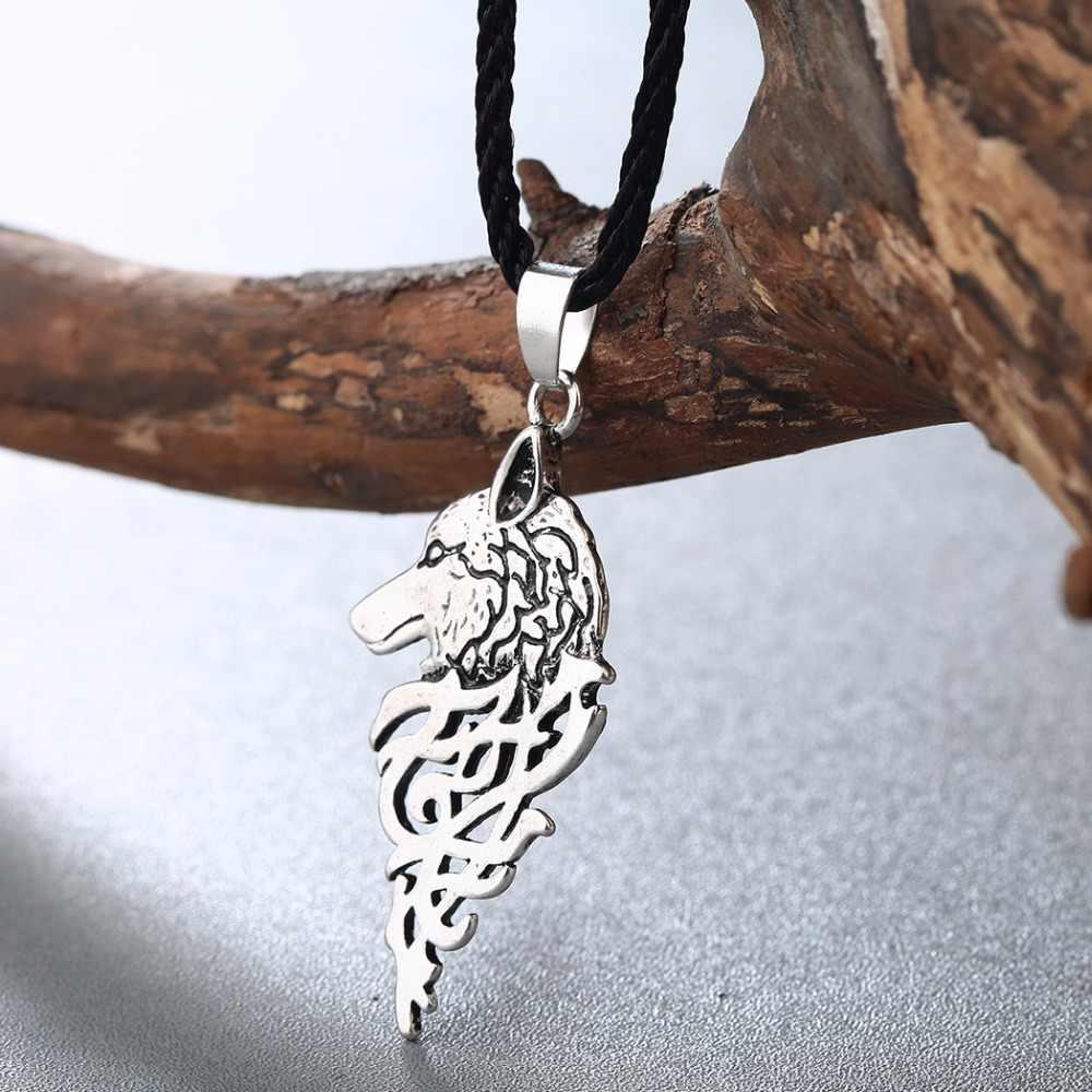 QIMING Mới Thương Hiệu Trang Sức Cổ Điển cho Nam Vòng Cổ Viking Sói Với Celtic Nút Thắt Cổ Mặt Dây Chuyền Vòng Cổ Chokers