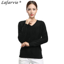Lafarvie Hot Quality Fashion Autumn&Winter Mink Cashmere Blended Sweater V-neck Full Sleeve Knit Female Pullover 10Colors S-XXXL