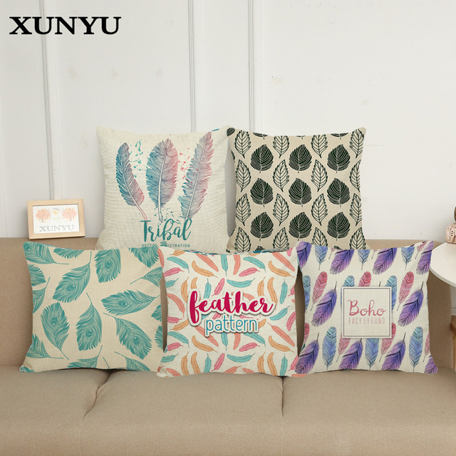 Pleasing Us 4 85 Xunyu New Design Feather Painting Cotton Linen Throw Pillowcases Geometric Good Quality Neck Pillow For Sofa Decorative In Cushion Cover Theyellowbook Wood Chair Design Ideas Theyellowbookinfo
