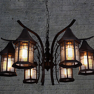 American Country Style pendant lamp Metal vintage pendant light 6 Light,edison vintage light Contain light bulb Free shipping loft style vintage light wrought iron pendant lights bird cage pendant lamp bar cafe vintage pendant light contain light bulb