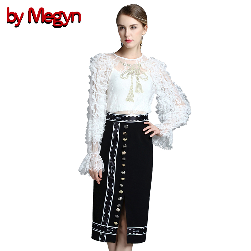 by Megyn 2017 Designer Women Runway Summer Suit Set Two piece Women's Sexy Long Sleeve Lace Tops + Casual Button Skirt Suit Set green casual lace beaded suit