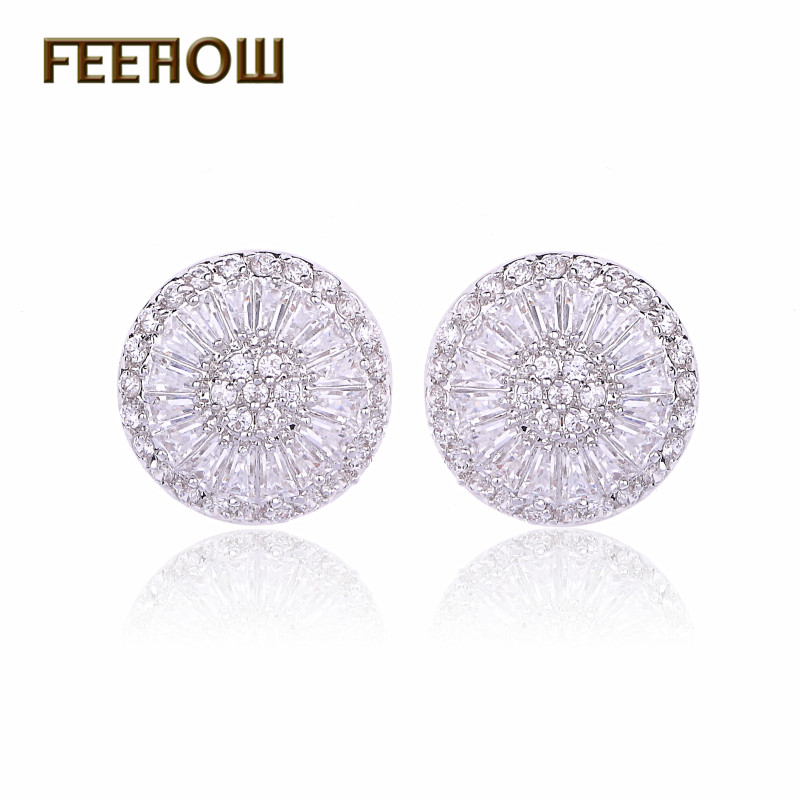 FEEHOW Fashion Ladies CZ Jewelry Full Paved Cubic Zirconia Stone Big Round Stud Earrings For Women FWEP293 ...