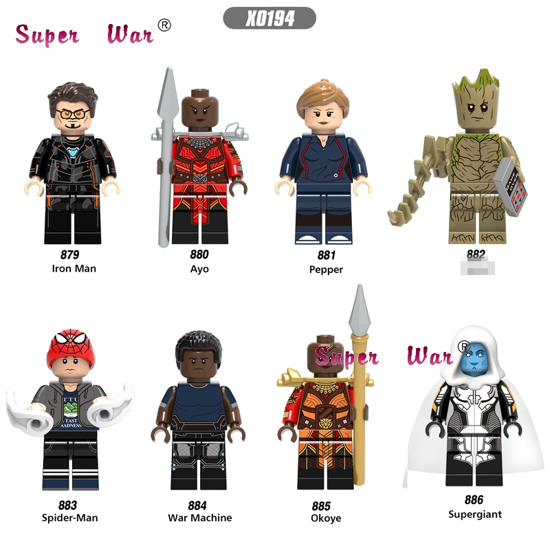 Single Marvel Avengers Infinity War Super Spiderman Pepper Ayo Iron Man okoye War Machine building blocks toys for children