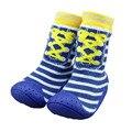 Полоса малыша носки с Резиновой Подошвой antislip младенческой малыша обувь мягкое дно ребенок пола носки XP3010