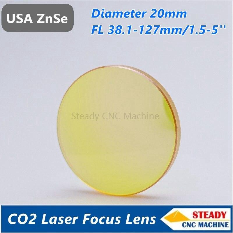 USA ZnSe laser focus lens diameter 20mm FL 38.1 50.8 63.5 101.6mm 127mm 1.5 5 for laser engraver
