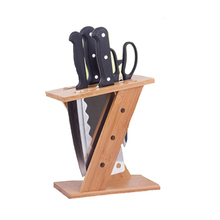 Multifunctional bamboo frame knife holder kitchen accessories z-shaped bamboo frame knife multi-function rack kitchen tools