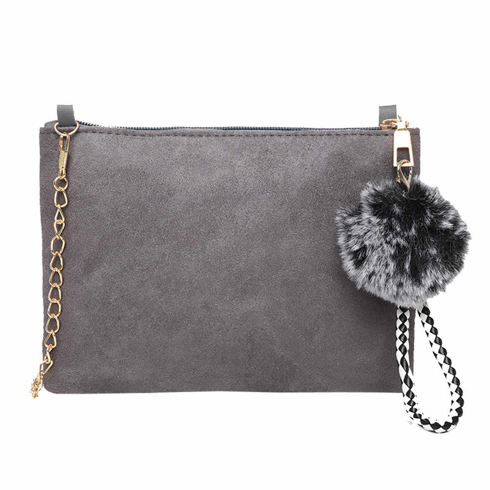Women Bag Hairball Solid Color Suede Crossbody Clutch Shoulder Phone sac main femme bags for women 2019 bolsa feminina