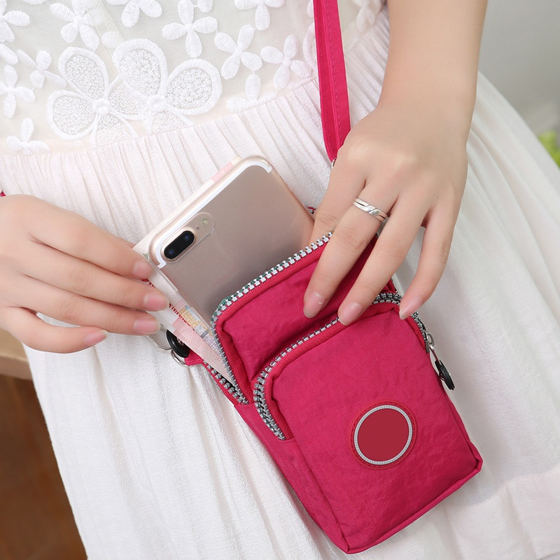 Universal Women Small Shoulder Bags Fashion Zippers Mobile Phone Bags Coin Pocket Outdoor Crossbody Bags Wrist Handbag 2019