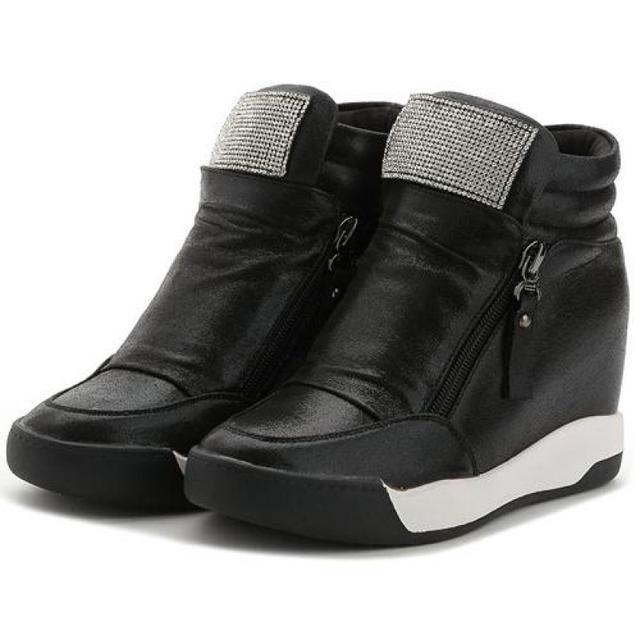 2017 Nueva Mujer Shose Zapatillas Deportivas Casuales Aumento de Alta Zapatos De Plataforma Con Cremallera Damas Schoenen Mujer Chaussures Femme