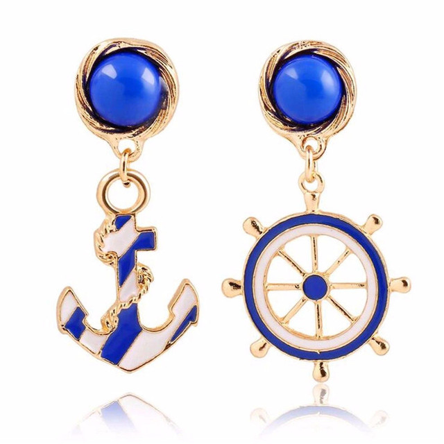 Hot 1 Pair Girl Popular Chic Personality Anchor Design Blue Ear Stud Earrings Jewelry Gift