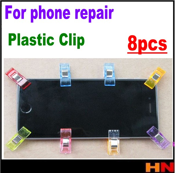 8pcs Plastic Clip Fixture LCD Screen Fastening Clamp Mobile Phone Repair Tool Kit sceen repair color mix(China)