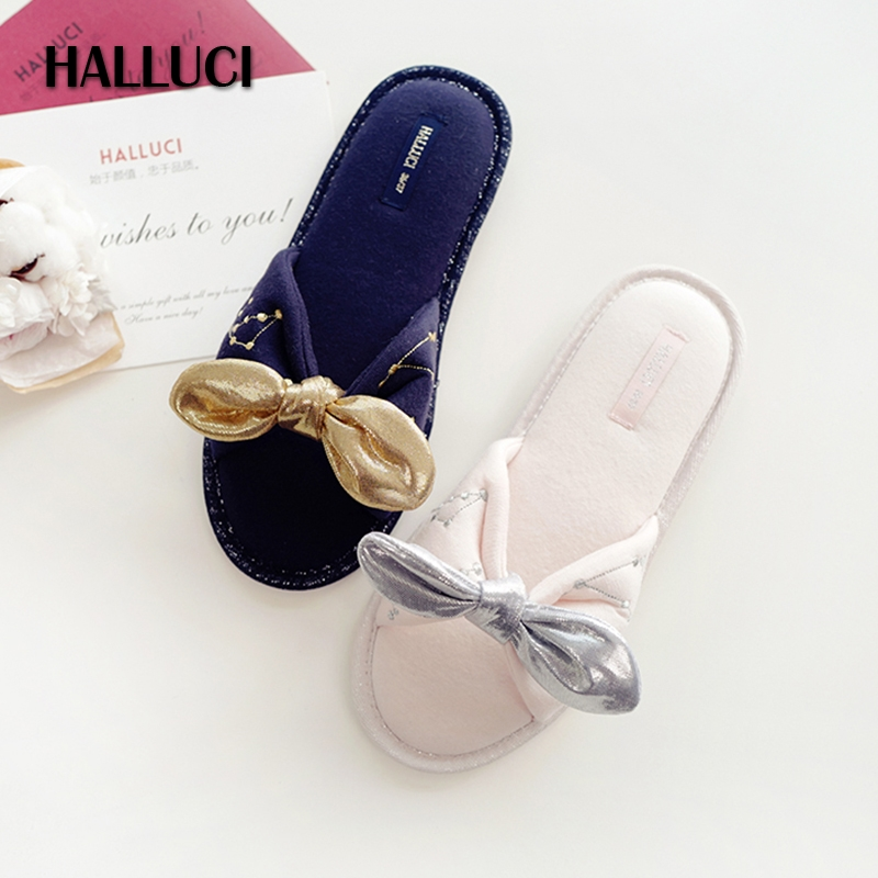 HALLUCI New embroidery home slippers sock for women shoes mules pantufa terlik chinelo rubber indoor floor slides house Slippers halluci breathable sweet cotton candy color home slippers women shoes princess pink slides flip flops mules bedroom slippers