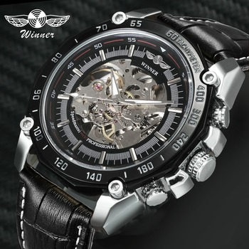 GEWINNER Mode Kleid Auto Mechanische Herren Uhren Top Brand Luxus Skeleton Zifferblatt Lederband Große Fall Business Armbanduhr Mann