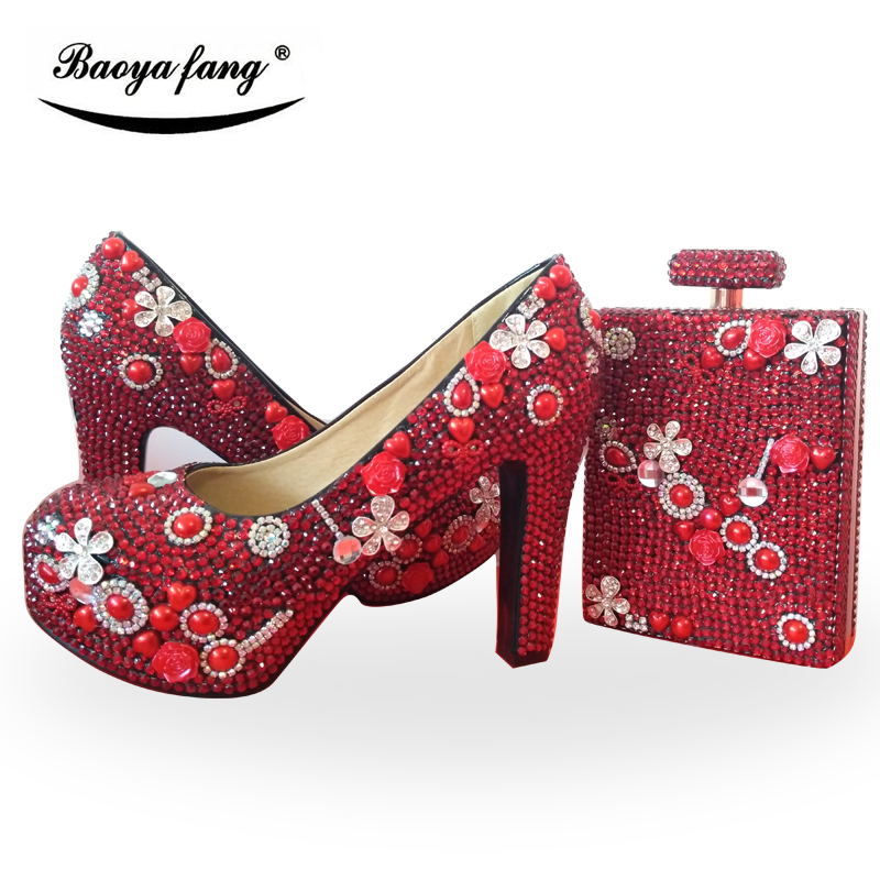 BaoYaFang Red Crystal block heel Women wedding shoes with matching bags ladies dress shoes woman High shoe and purse sets baoyafang red crystal womens wedding shoes with matching bags bride high heels platform shoes and purse sets woman high shoes