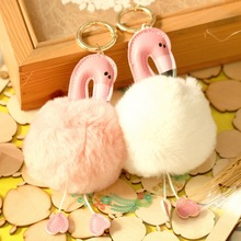 New Creative Flamingo Keychain Pendant Backpack Ornaments Fur Crafts Cartoon Animal