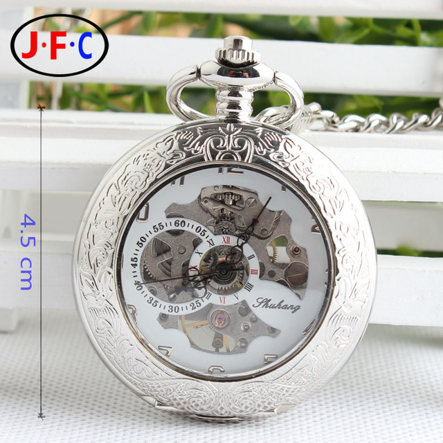 ca3b3fa7b29 A lente convexa oco Prata Branco flip Retro relógio mecânico automático  assistir lista de bronze clássico
