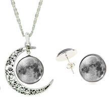 Christmas Jewelry Set Silver Plated Glass Cabochon Moon Pattern Necklace Pendant with Earring set for Women(China)