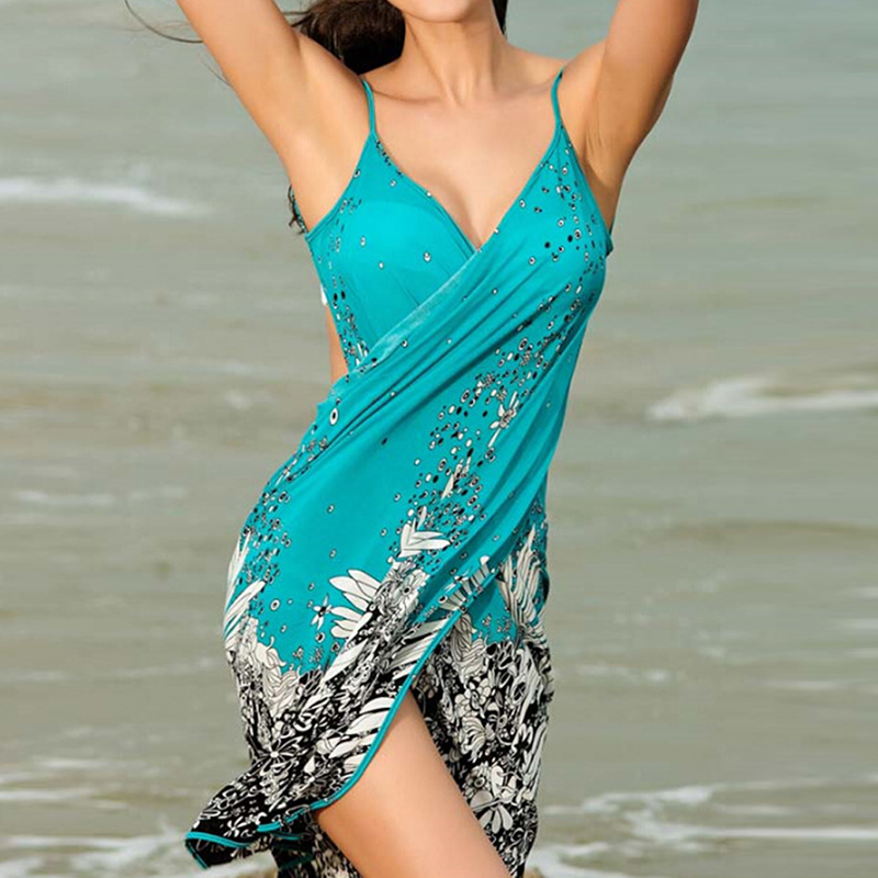 Women Beach Dress Sexy Sling Beach Wear Deep V Neck Dress Sarong Bikini Cover-ups Wrap Pareo Towel Flower Open-Back hot selling 1