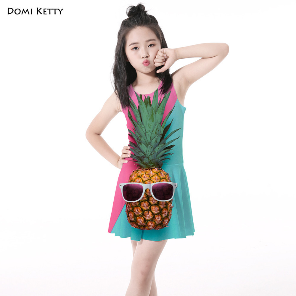Domi Ketty summer girls dress print shy pineapple children sleeveless princess dresses new kids baby fruit beach party clothes