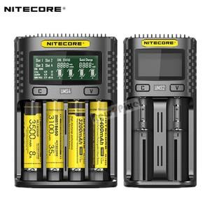 Image 1 - Oryginalny NITECORE UMS2 UMS4 inteligentna ładowarka baterii wyjście USB 3A dla LiFePO4 litowo jonowych Ni MH NiCd 10440 10440 10500 18650