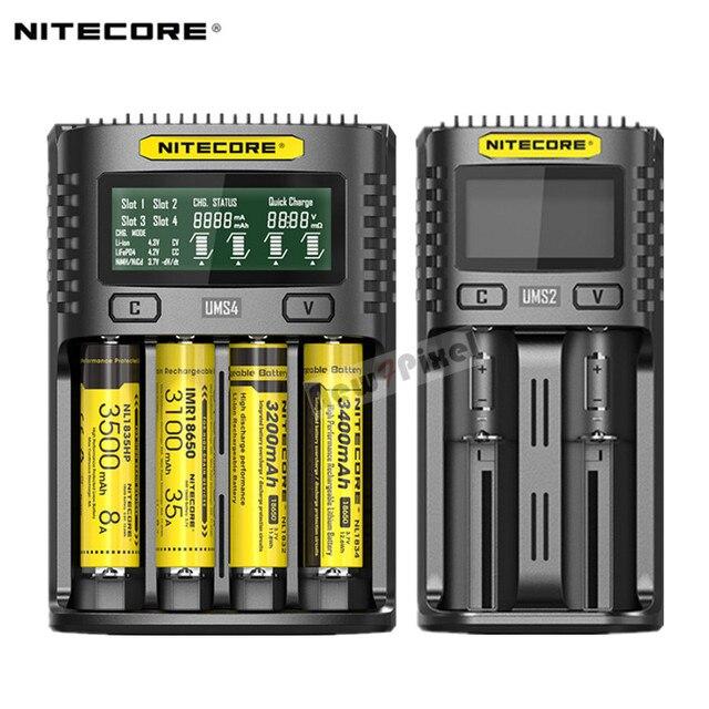 Oryginalny NITECORE UMS2 UMS4 inteligentna ładowarka baterii wyjście USB 3A dla LiFePO4 litowo jonowych Ni MH NiCd 10440 10440 10500 18650